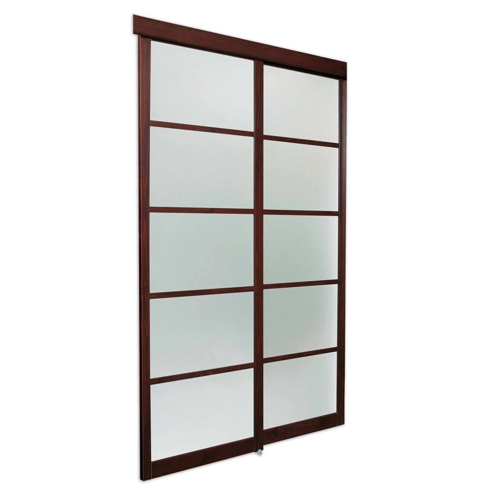 Asian frosted glass with expresso laminated wood