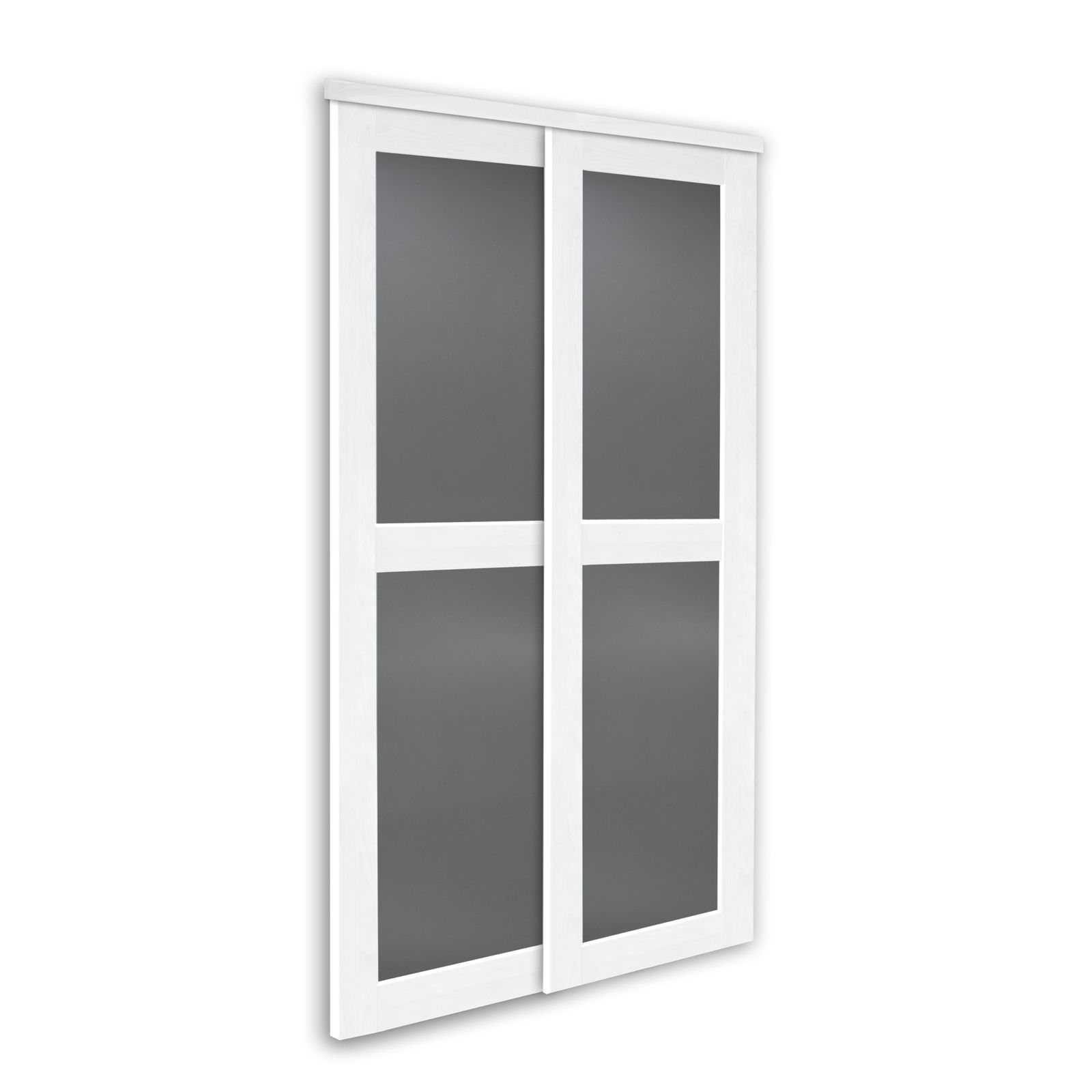 Poesie grey lacobel with white laminated wood