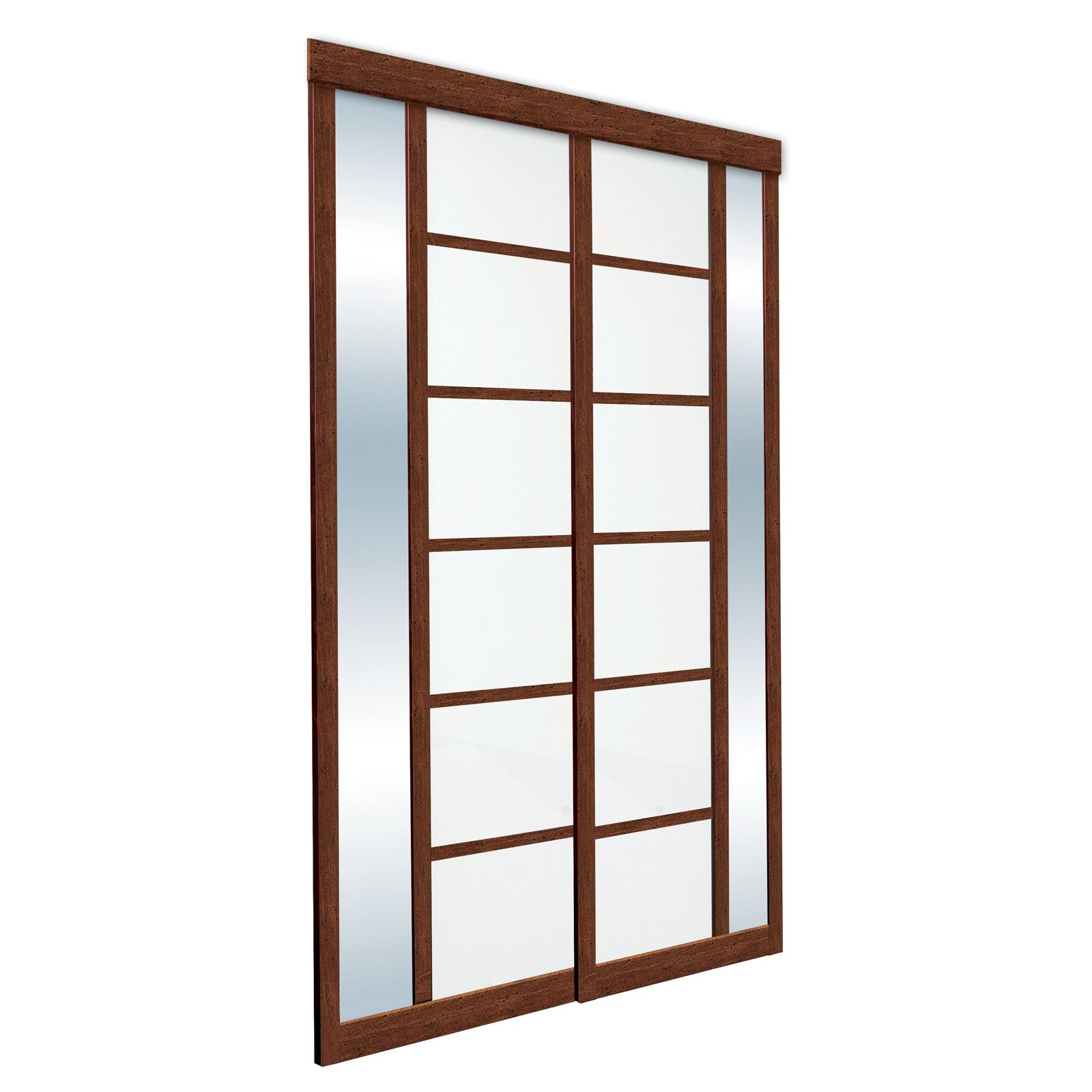 Sibelius frosted glass and clear mirror with pecan laminated wood